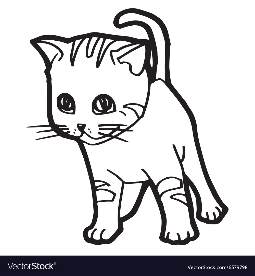 Cat And Kitten Coloring Page For Kid Royalty Free Vector