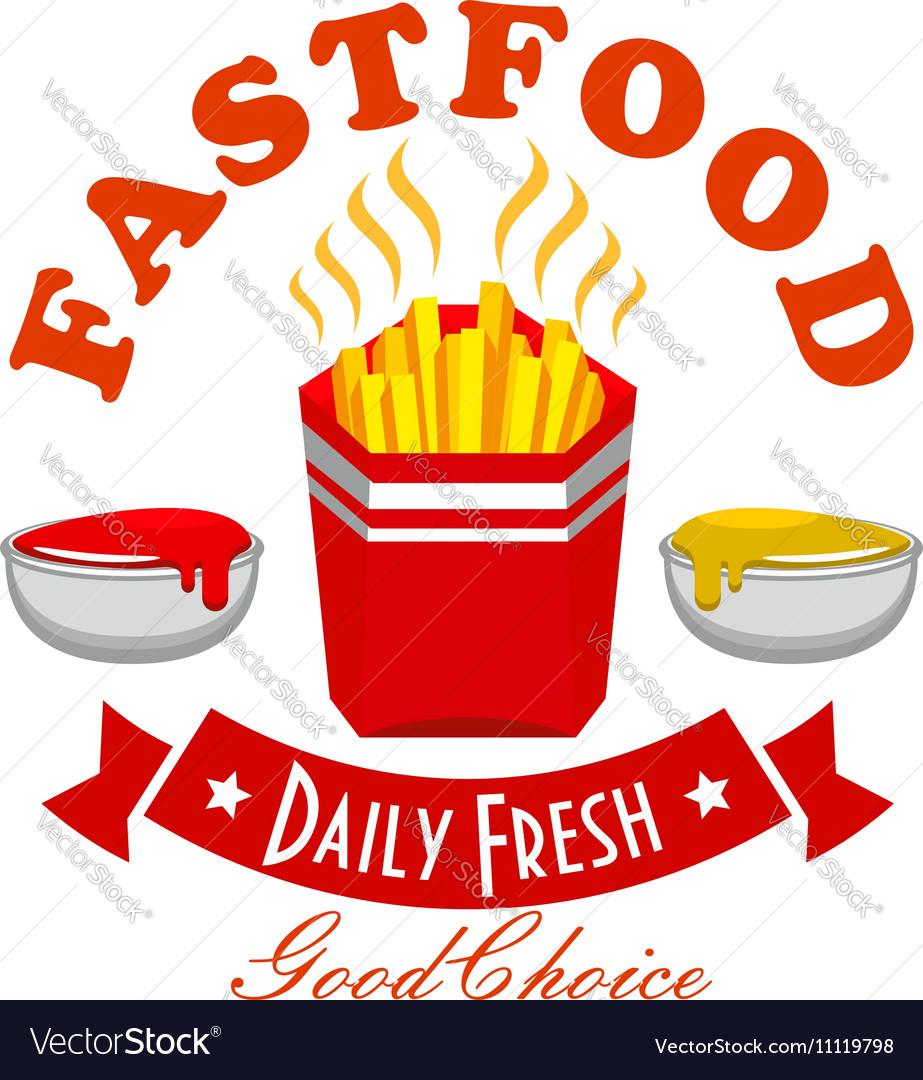 French Fries Fast Food Menu Symbol Royalty Free Vector Image