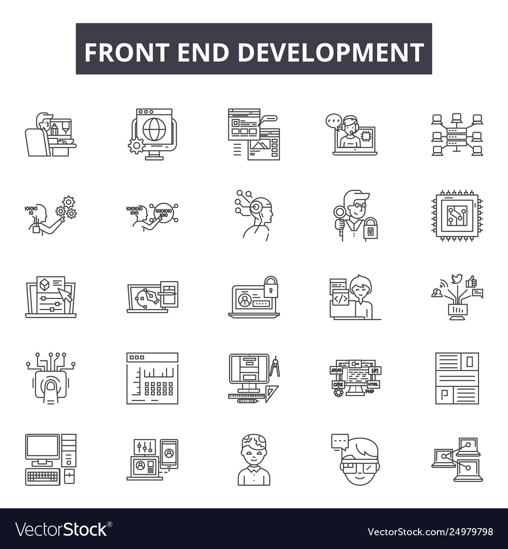Front end development line icons signs