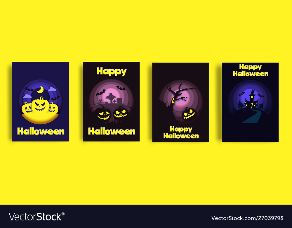 Happy halloween card set paper cut