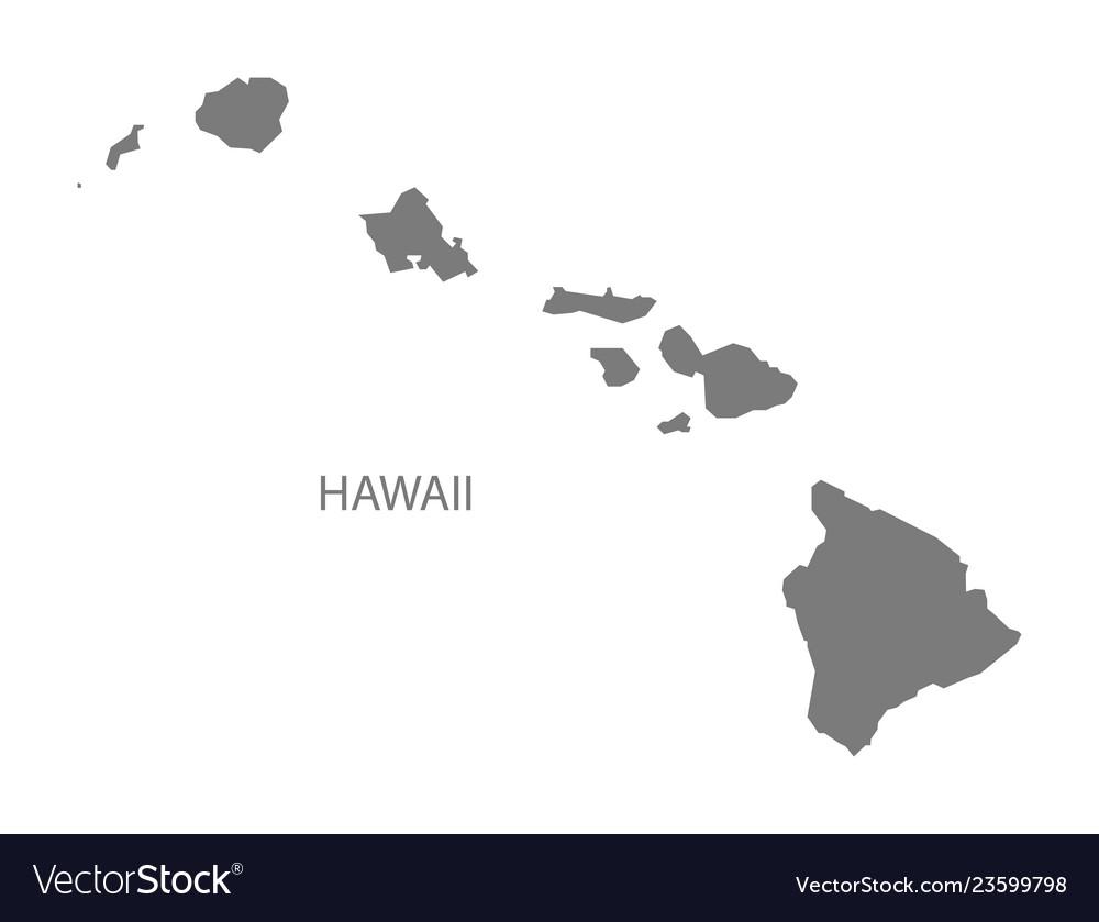 Hawaii Usa Map Grey Royalty Free Vector Image Vectorstock