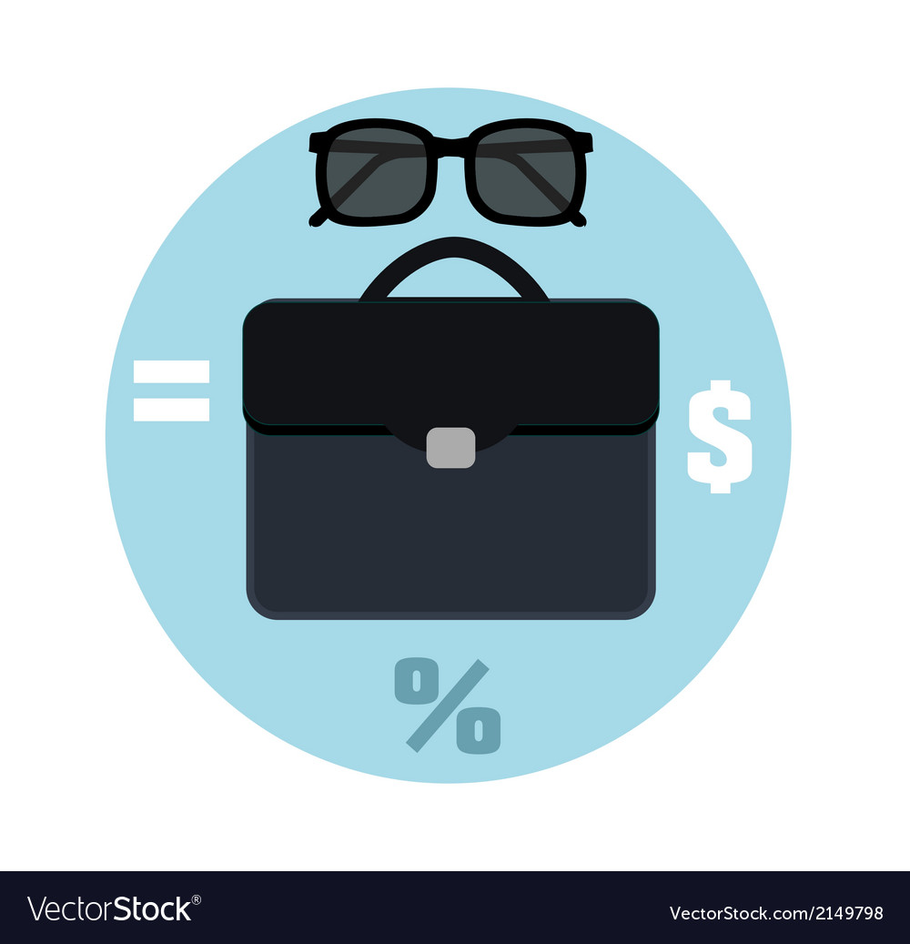 Icon briefcase and sunglasses Business concept