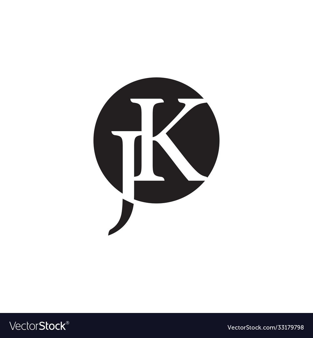 Letter jk negative space circle logo