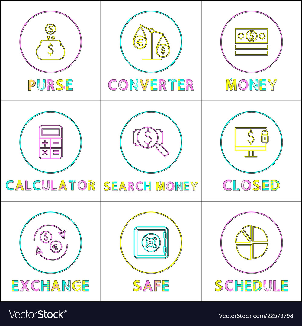 Online operations with money linear icons set