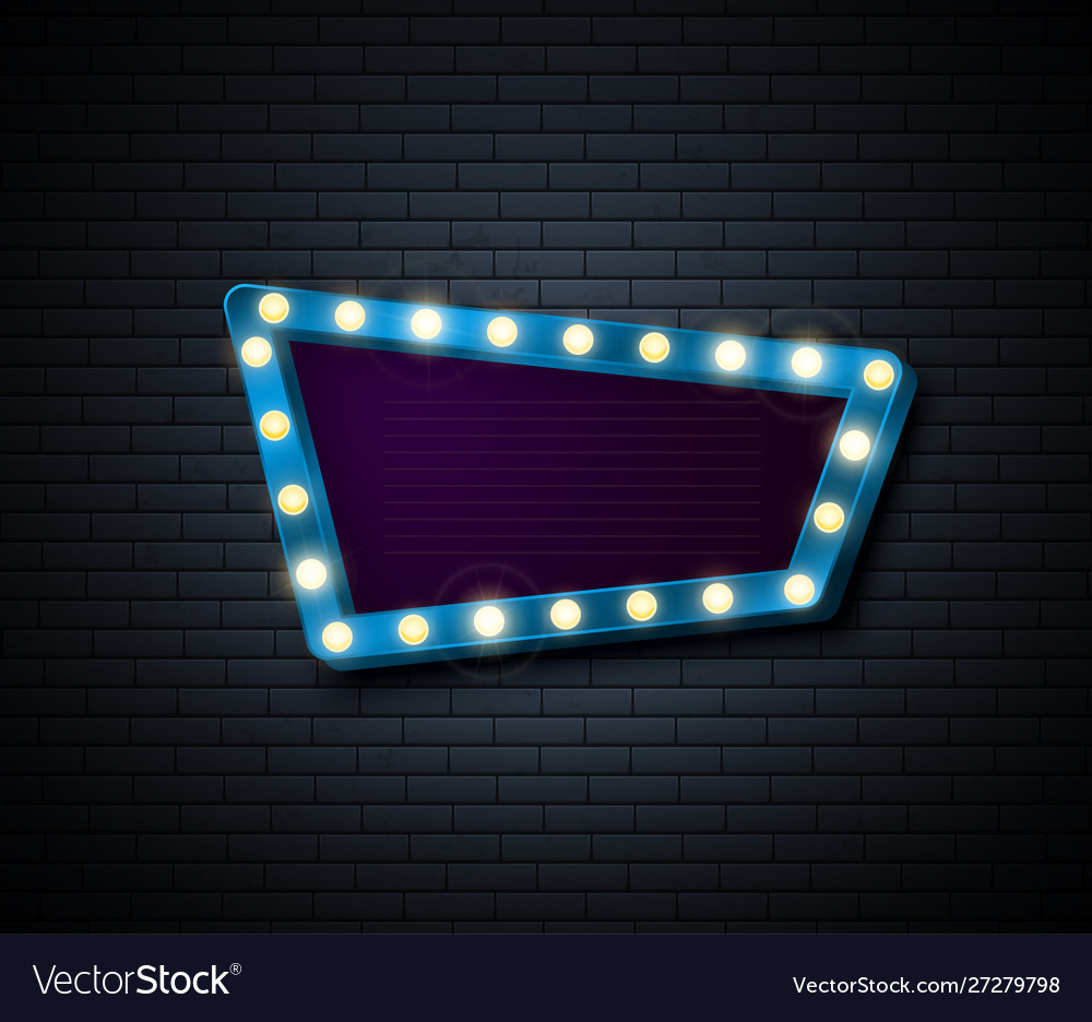 Retro sign signboard with shiny lights show