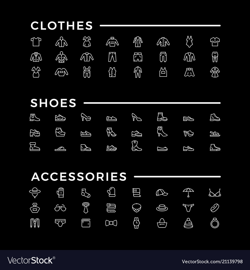 Set line icons of clothes shoes and accessories