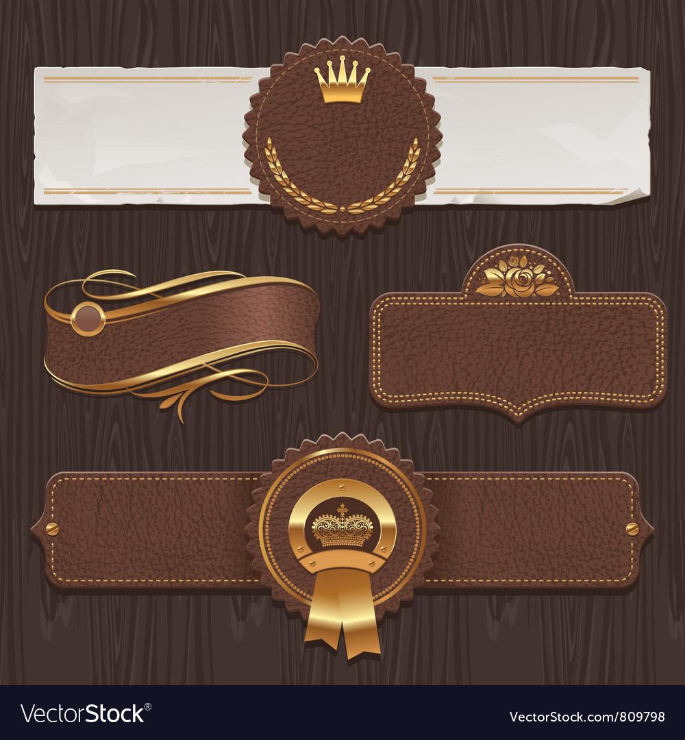 Set of leather golden framed labels vector image