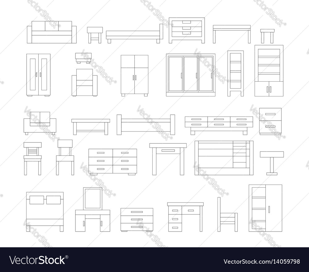 Set of linear furniture icons