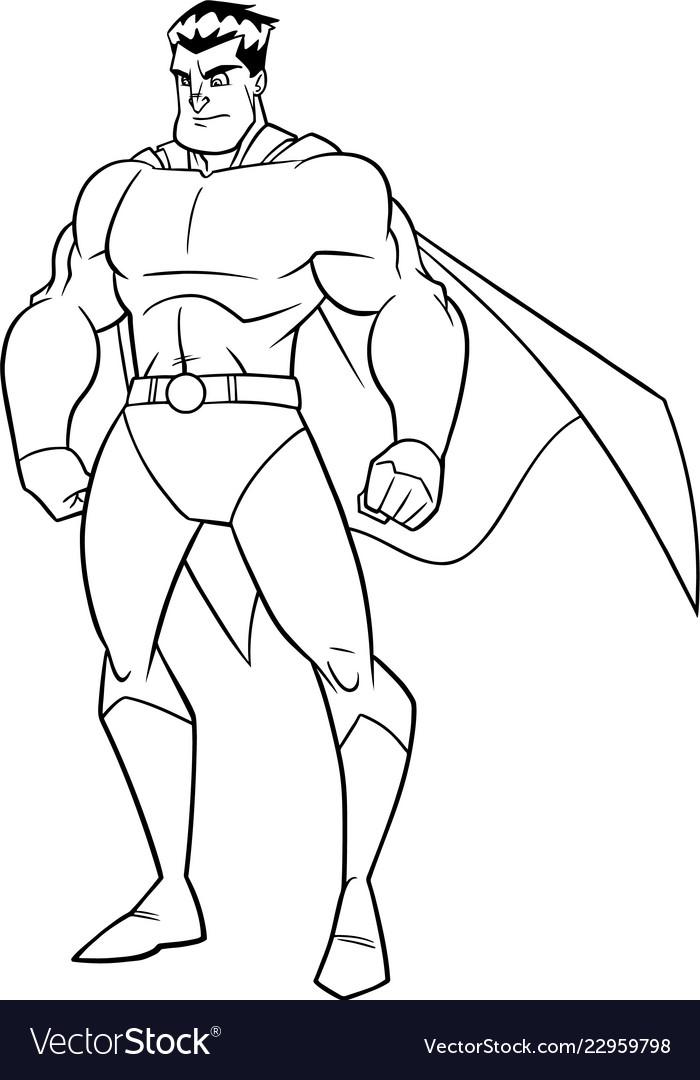 Superhero watch line art