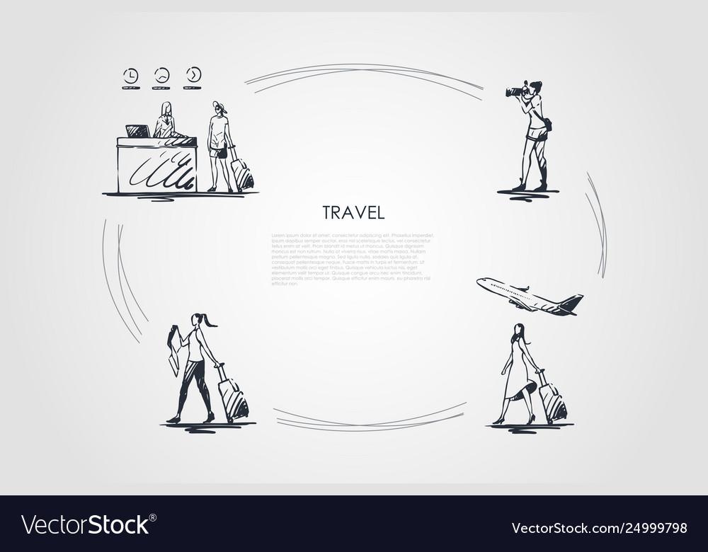 Travel - women making photo traveling plane