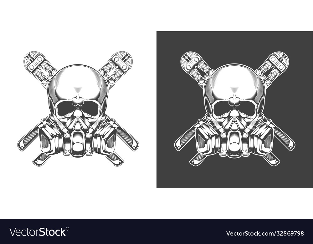 Vintage monochrome skull with respirator and bolt