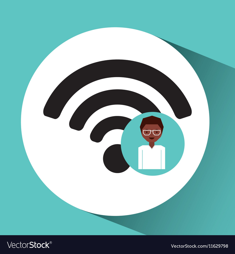 Woman afro internet connection icon