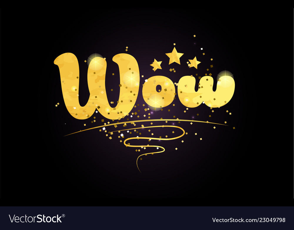 Wow star golden color word text logo icon