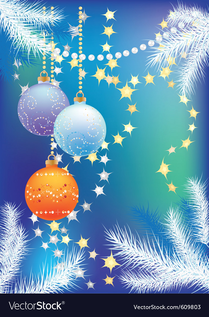 Blue christmas background with christmas tree ball