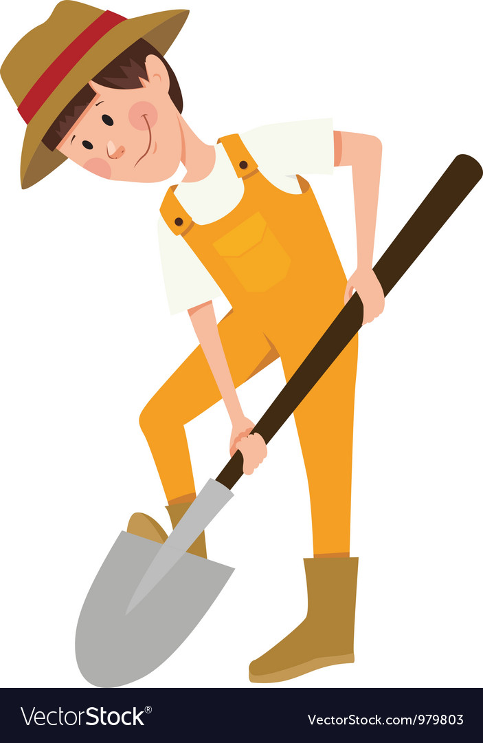 Boy digging with a shovel vector image