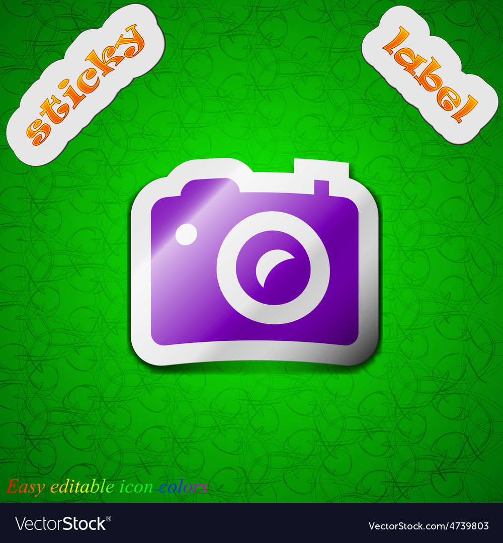 Digital photo camera icon sign Symbol chic colored
