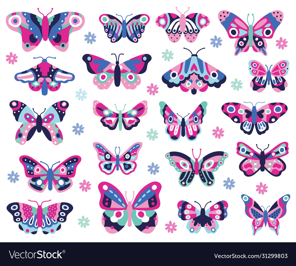 Doodle butterflies insect hand drawn spring