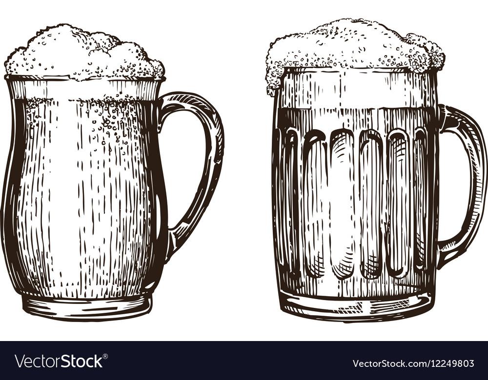 Hand drawn beer mug Elements for design menu