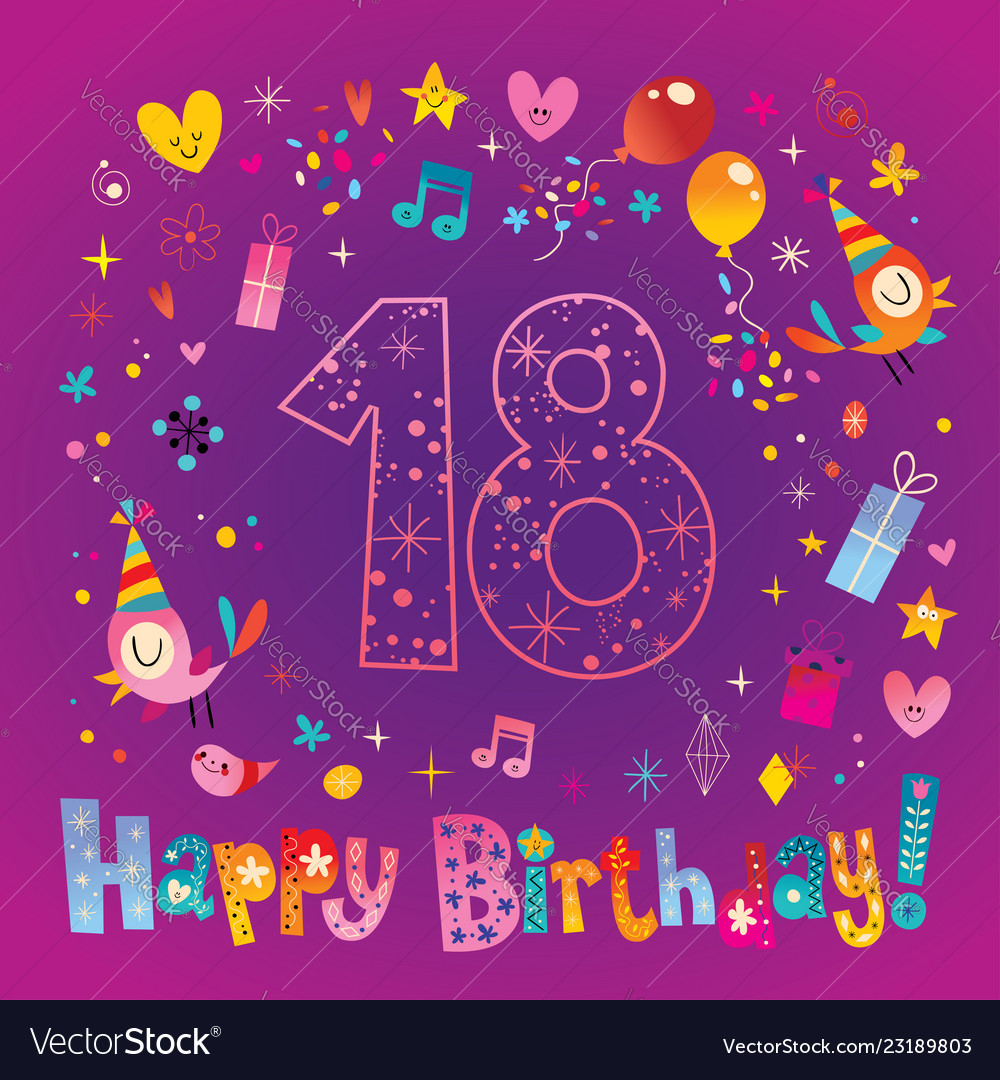 Happy Birthday 18 Years Teen Greeting Card Vector Image