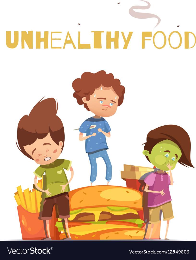 Junk Food Harmful Effects Cartoon Poster