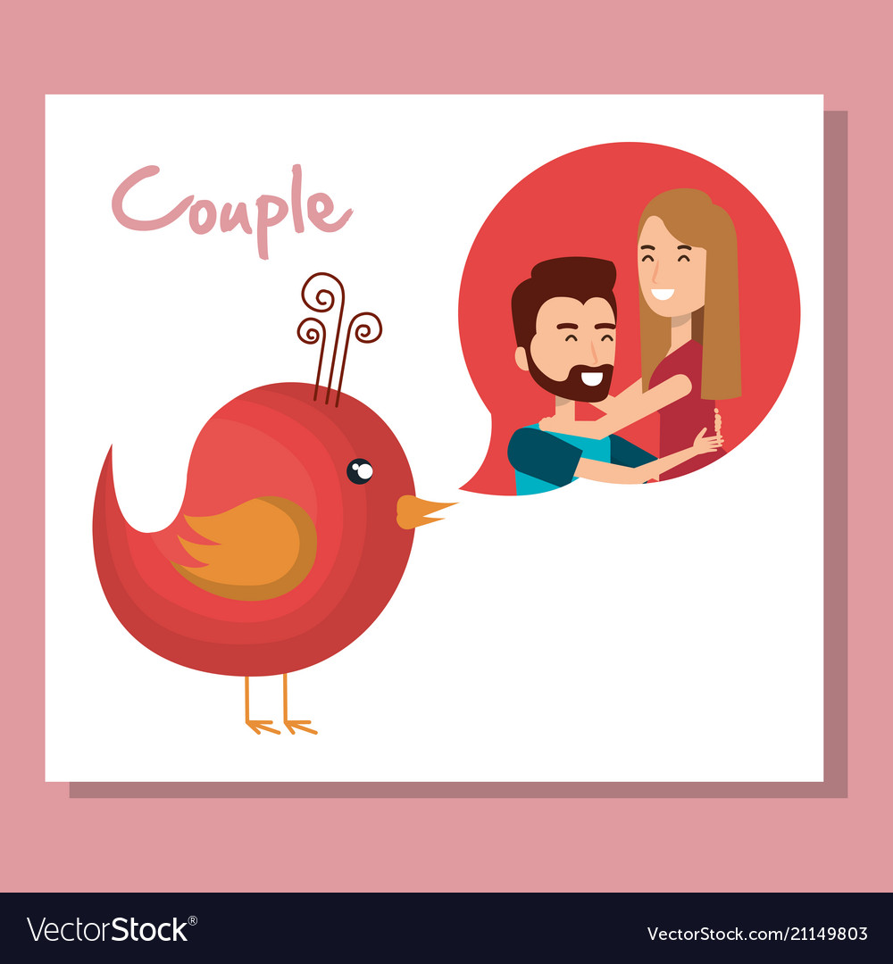 Lovers couple with speech bubble and bird