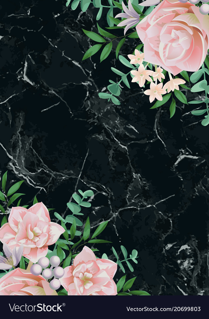 Luxury template with pink flowers on black marble