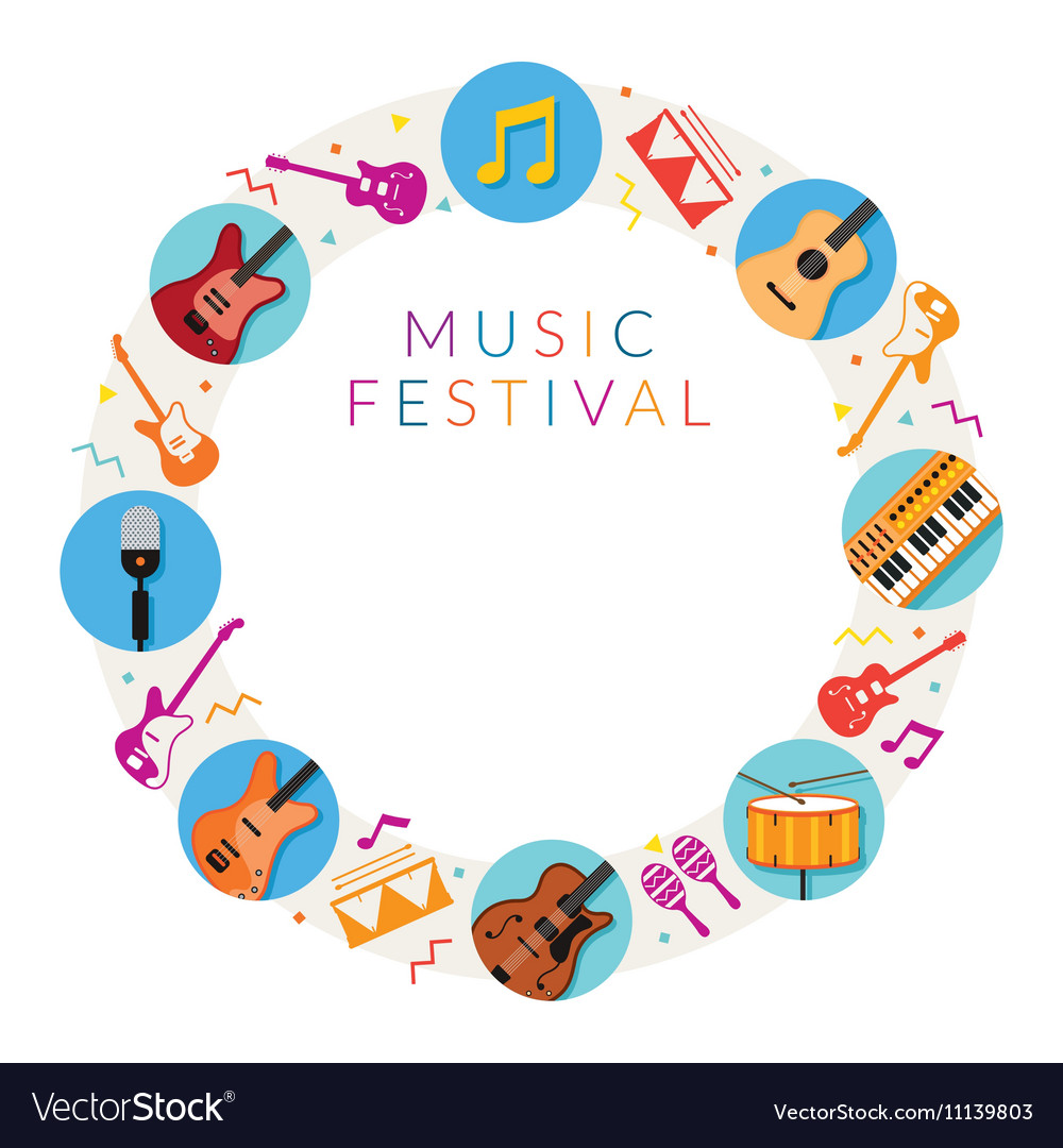 Music Instruments Icons Frame vector image