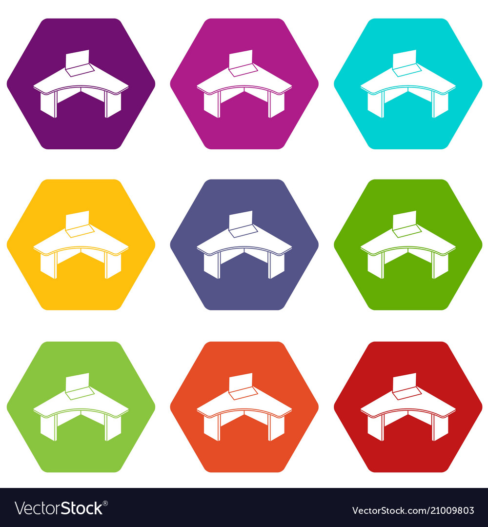 Office table icons set 9
