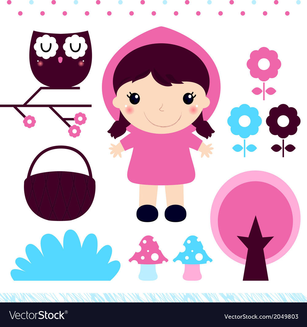 Red Riding Hood design elements set vector image