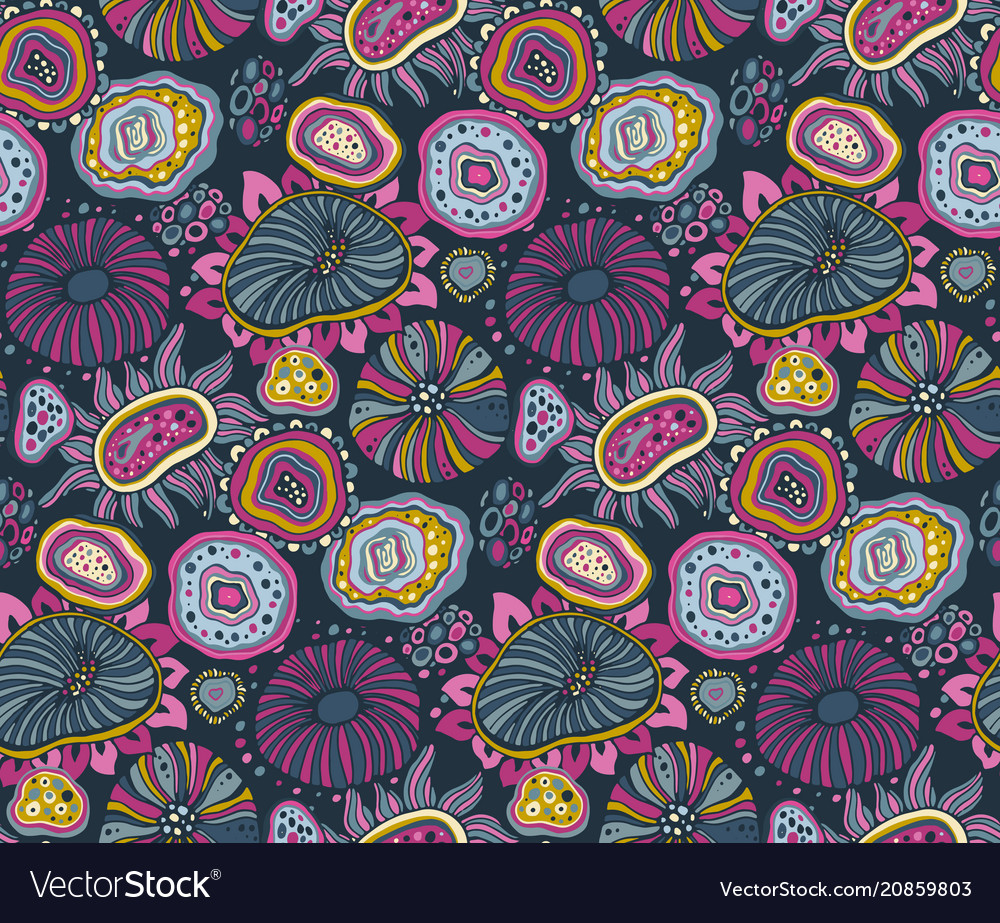Seamless pattern with hand drawn floral fantasy