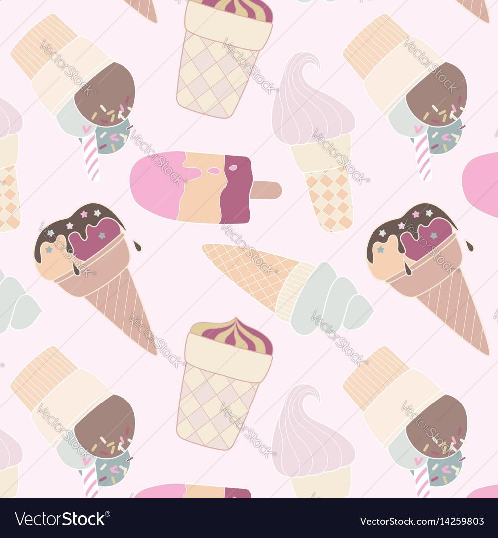 Seamless retro multicolor ice cream pattern vector image