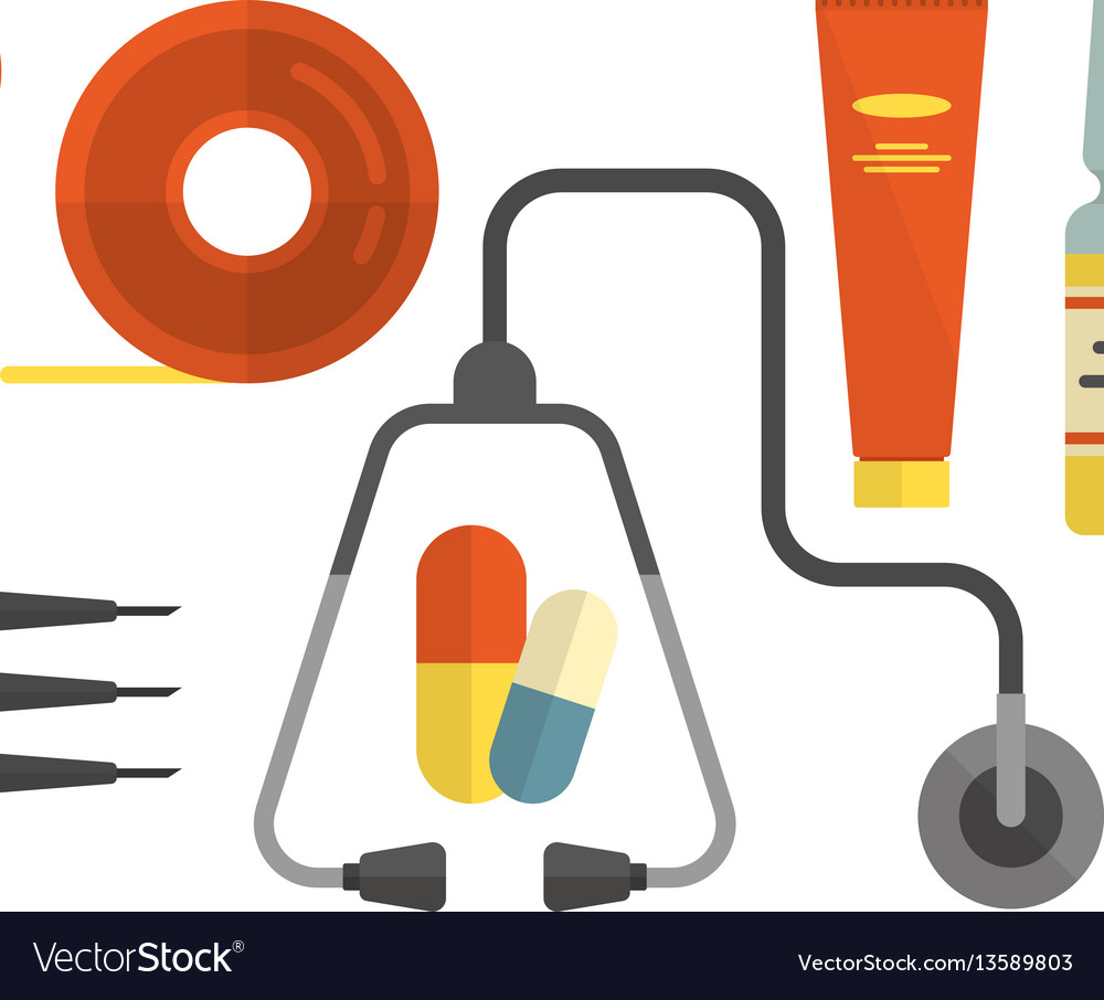 Set hospital and medical icons in flat