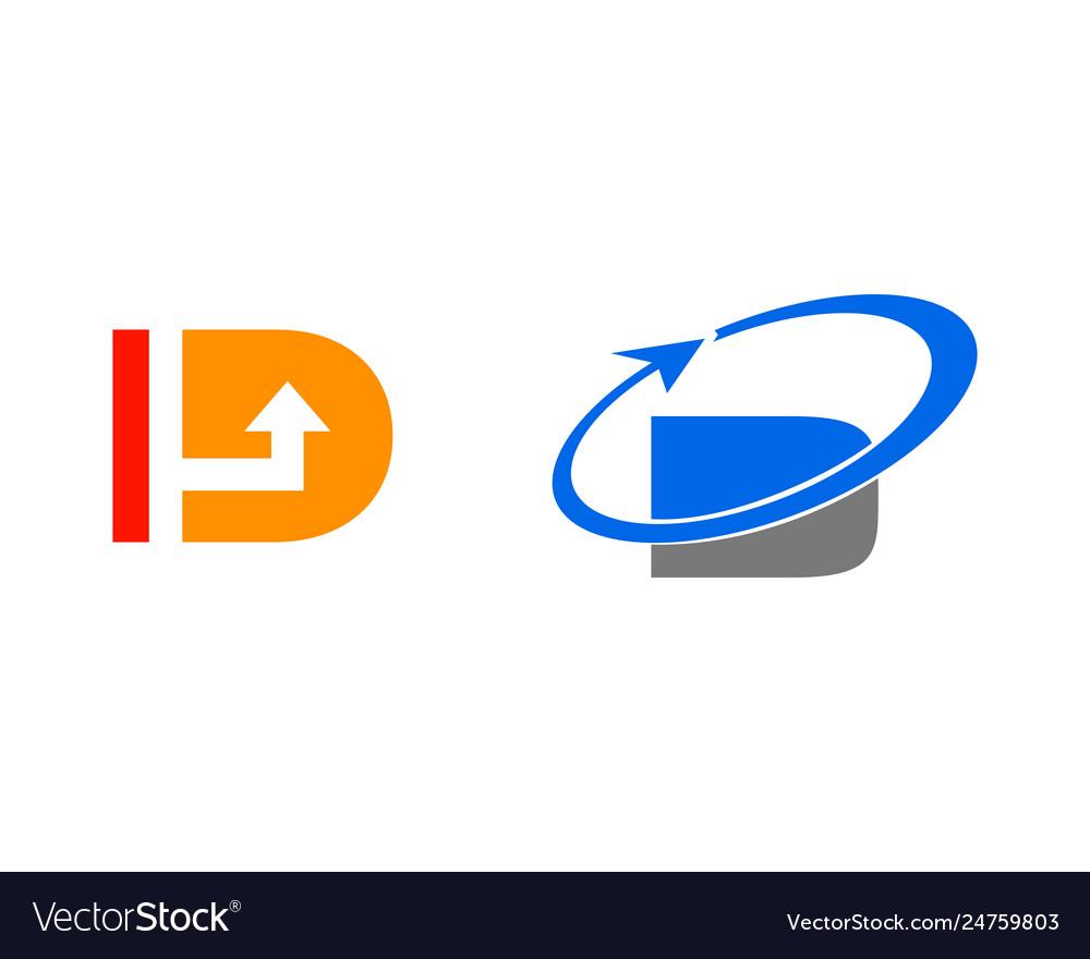 Set letter d with arrow logo template