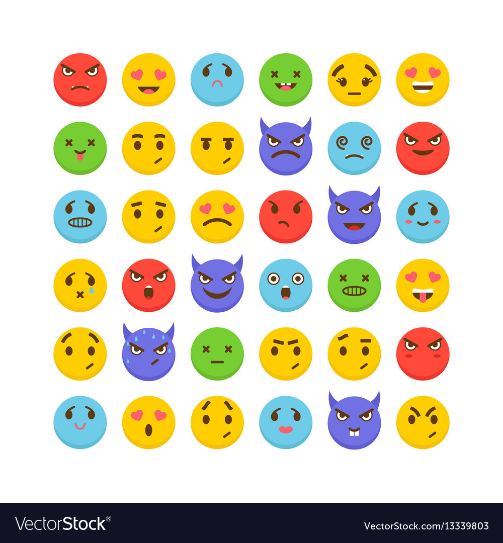 Set of emoticons flat design cute emoji icons