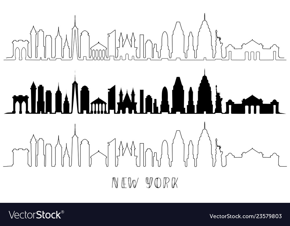 Skyline with historic new york architecture