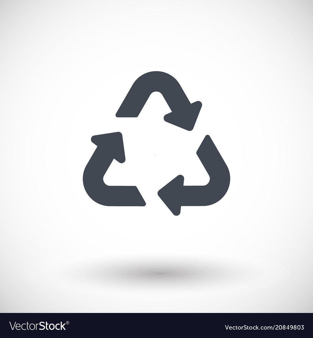 Universal recycling symbol flat icon