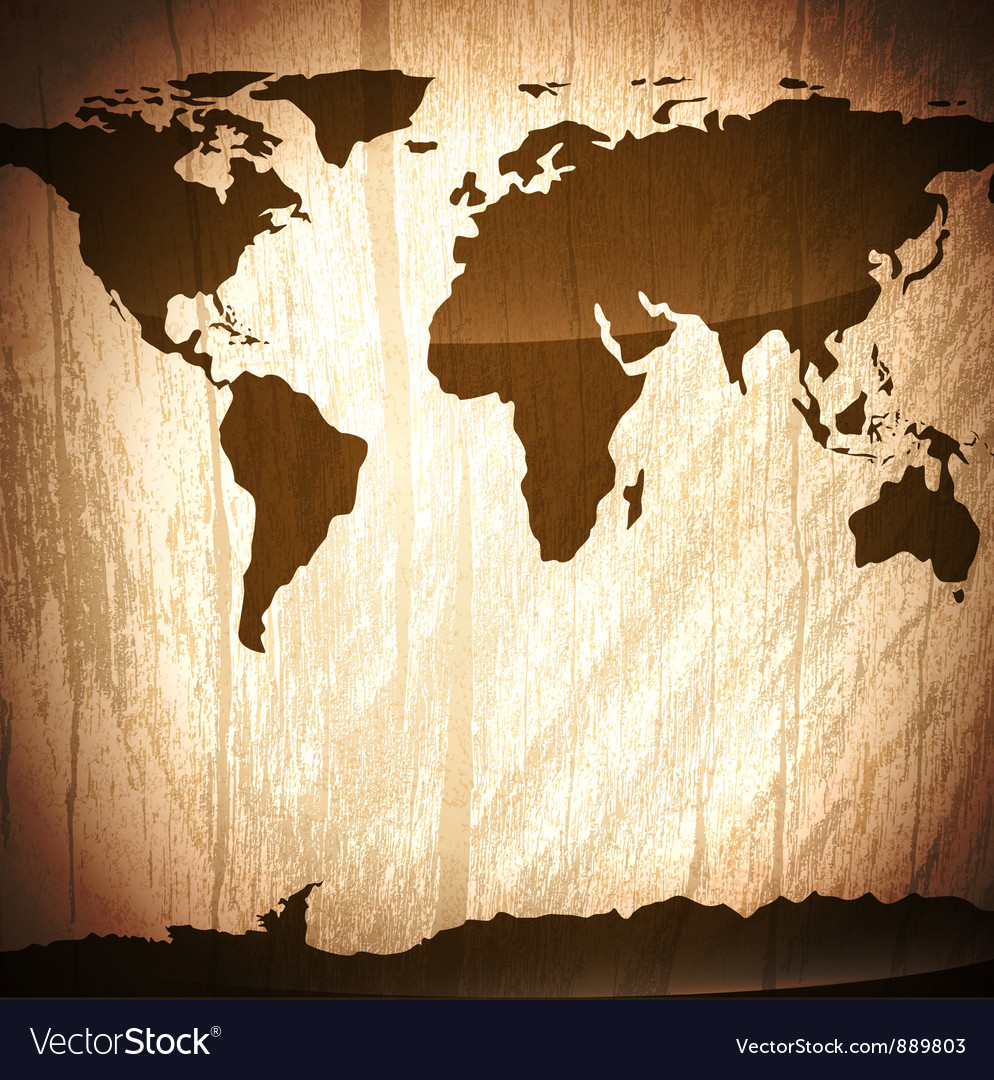 Wooden background with World map