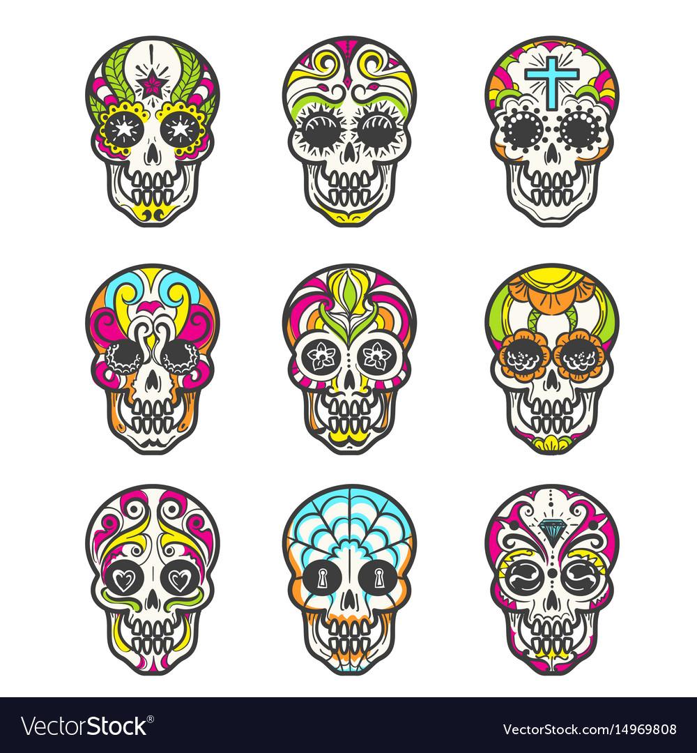 - Colored Sugar Skull Icons Set Royalty Free Vector Image