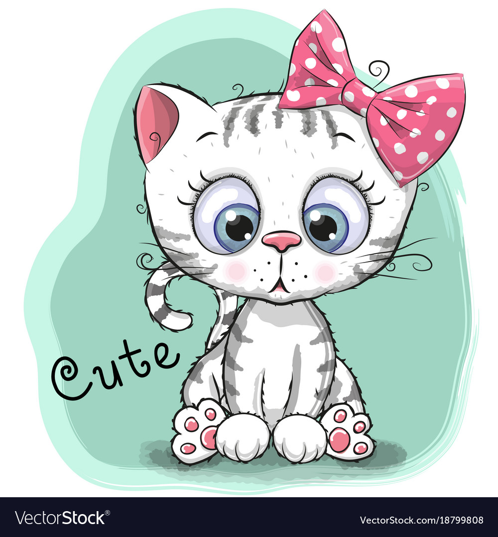 cute drawing kitten girl on a blue background vector image