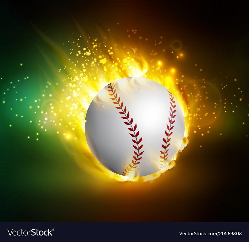 Dirty baseball speeding through the air on fire vector image
