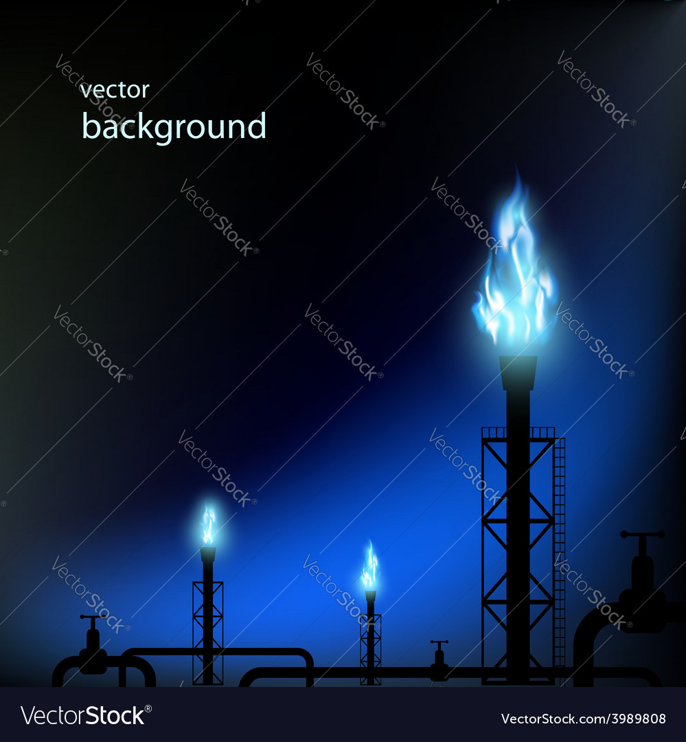 Gas pipes with a blue flame