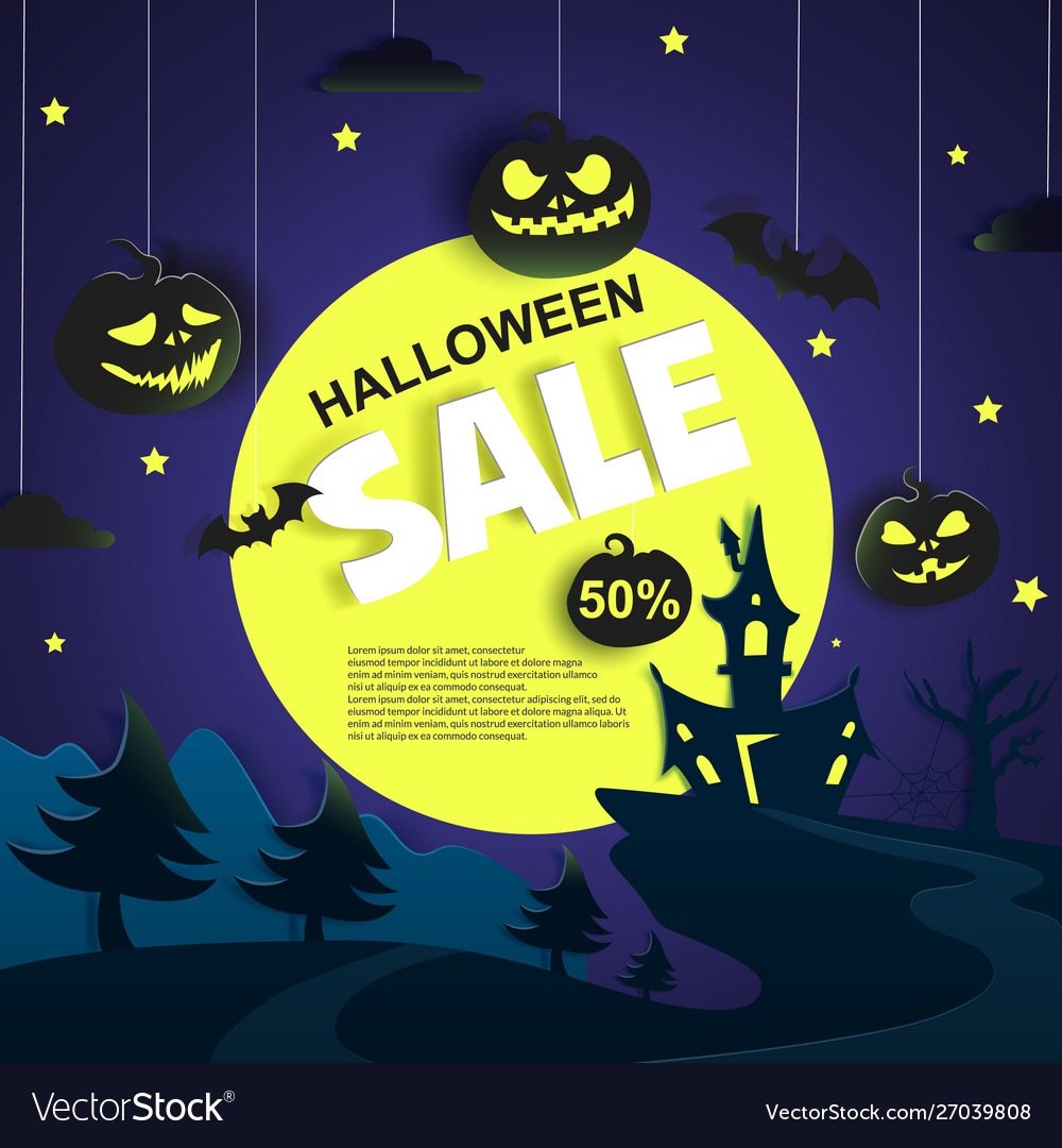 Halloween sale promotional poster paper