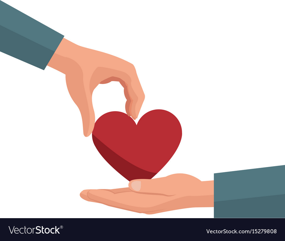 Hand Giving Heart Love Symbol Royalty Free Vector Image