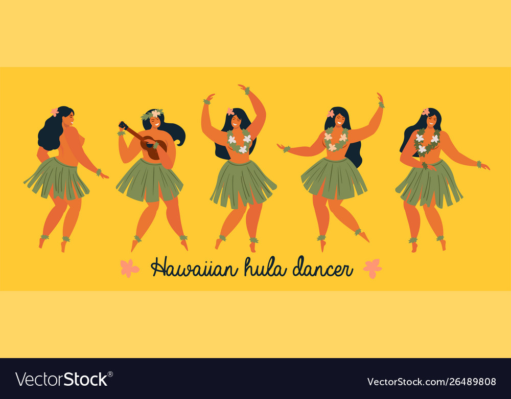 Hawaiian hula dancers young pretty woman poster