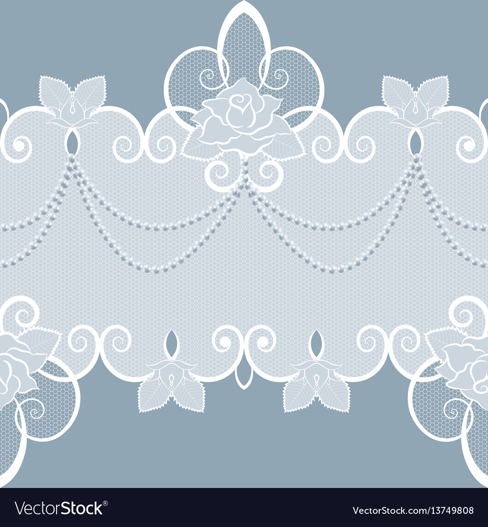 Lace pattern with pearls and roses