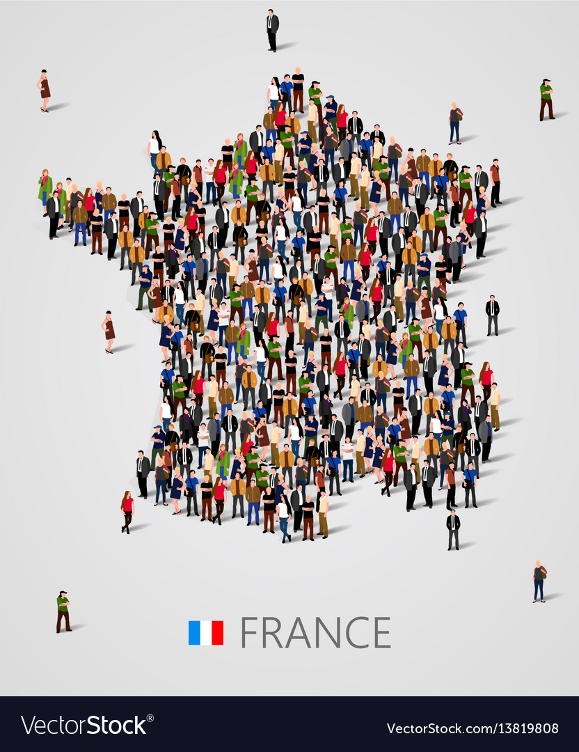 Large group of people in form of france map