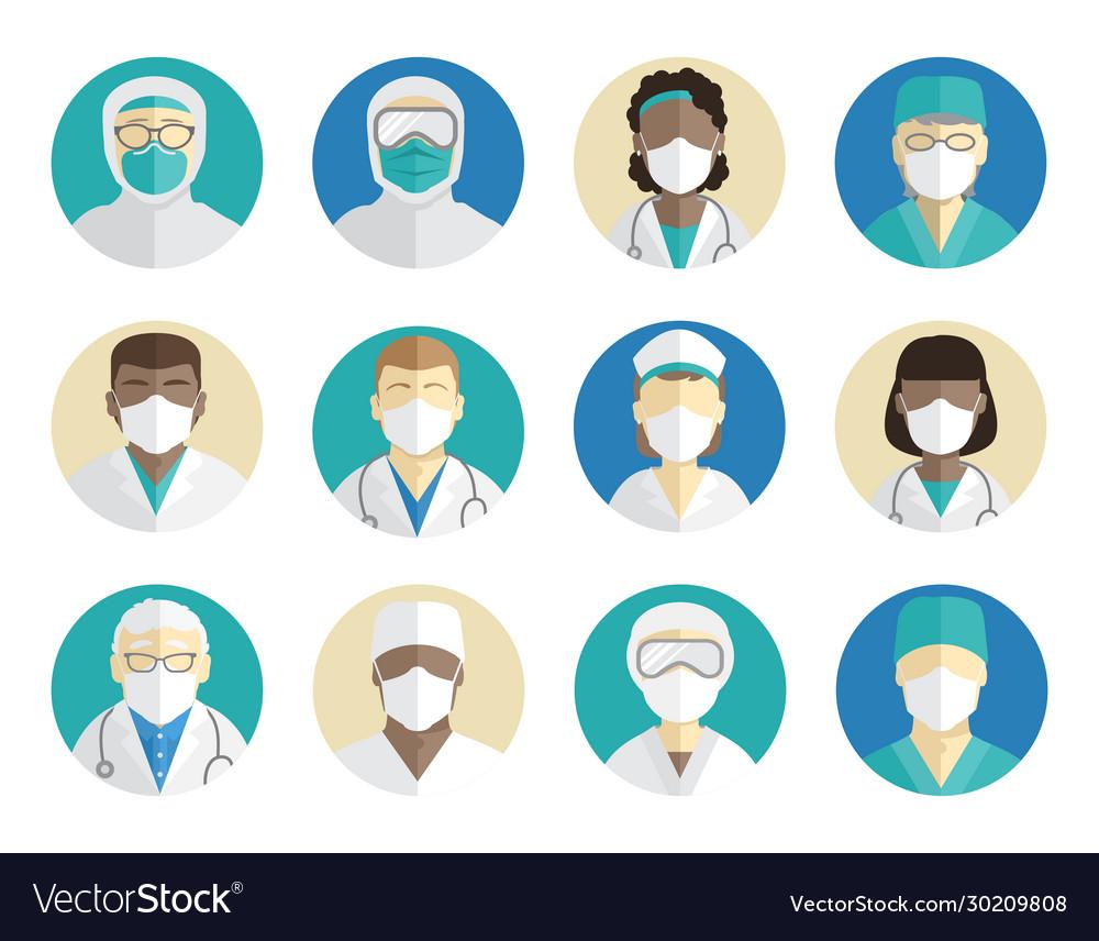 Medical avatars set doctors surgeons and nurses