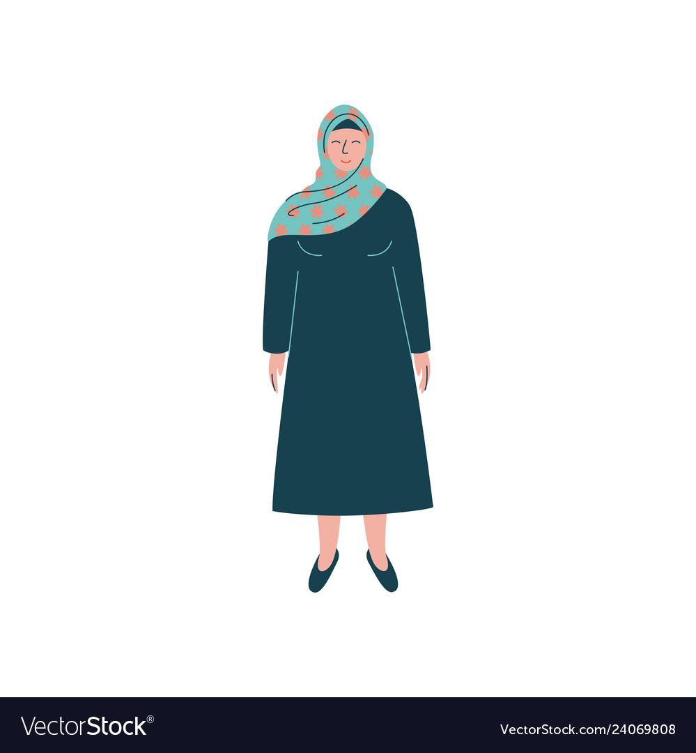 Muslim woman in hijab modern arab girl character