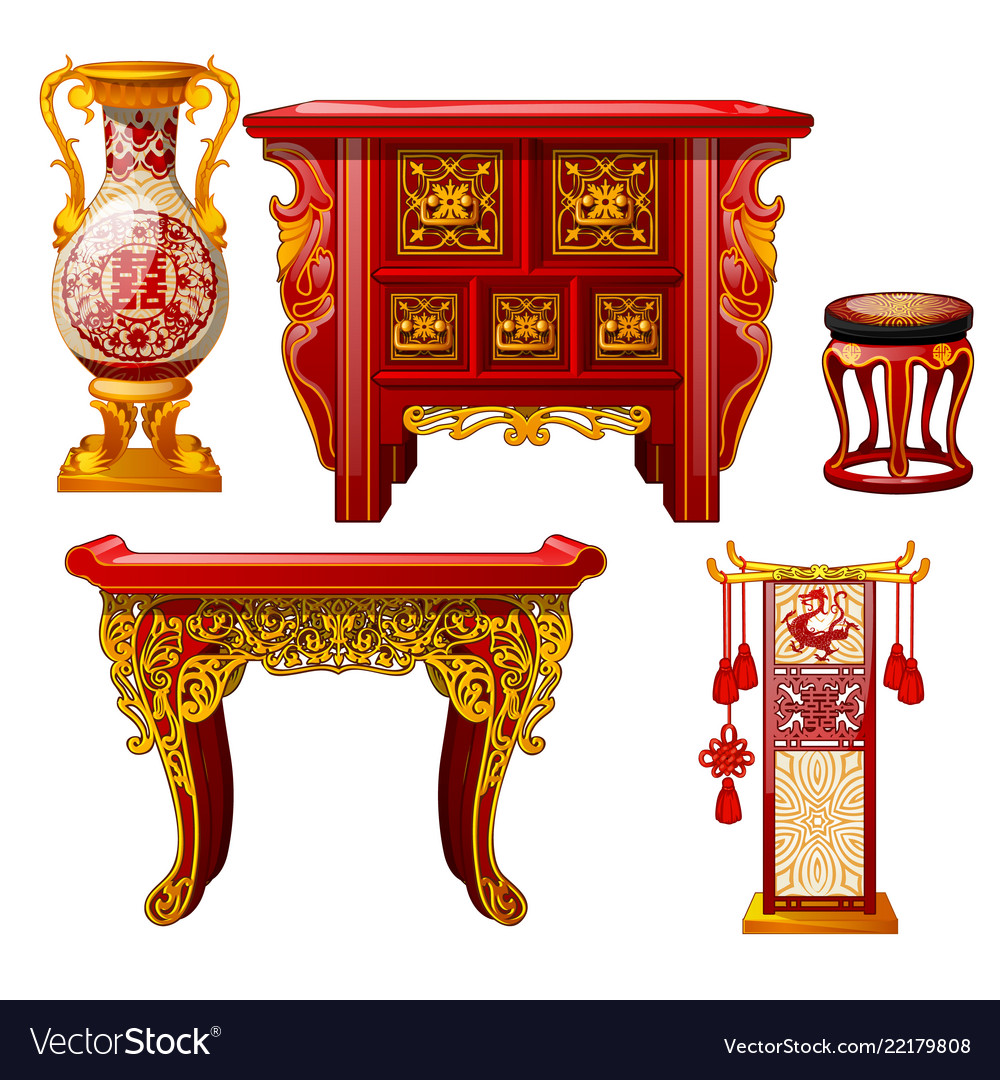 Oriental style furniture Traditional Chinese Set Of Ornate Furniture In Oriental Style Isolated Vector Image Rakuten Set Of Ornate Furniture In Oriental Style Isolated