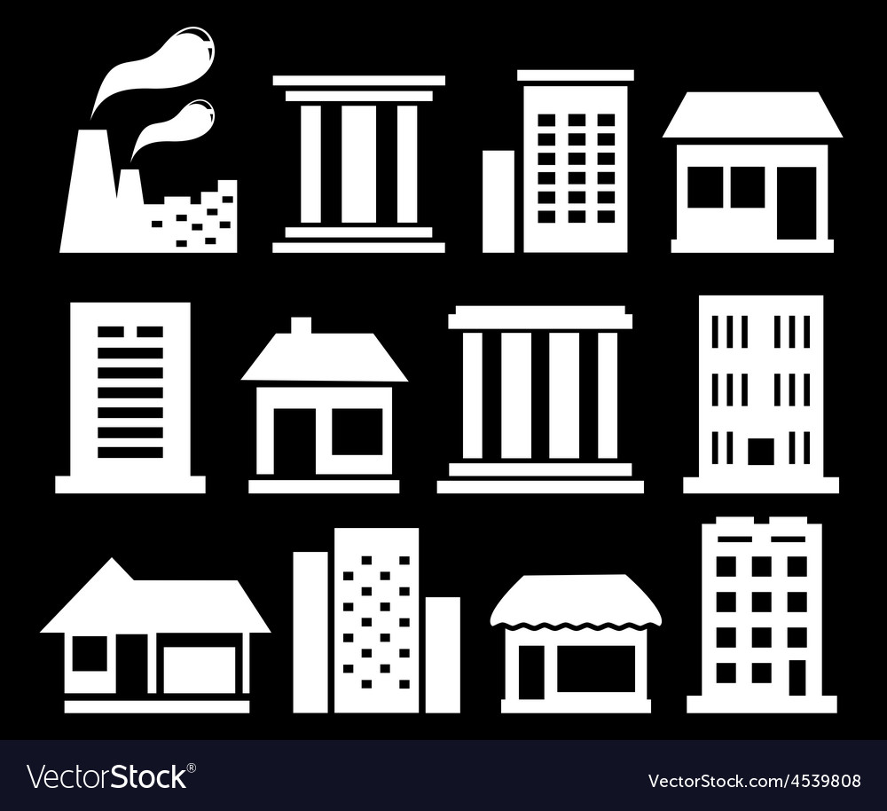 Set white urban buildings